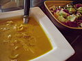 Carrot ginger soup with rice noodles with Asian slaw.jpg