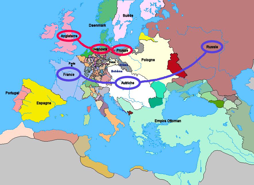 Carte Guerre de Sept Ans Europe