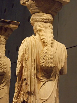 Caryatid - Intricate hairstyle of Caryatid, displayed at the Acropolis Museum in Athens