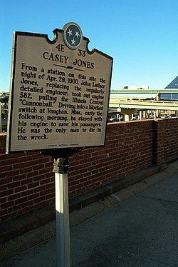 Photo of John Luther Jones white plaque