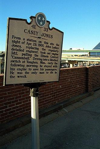 Casey Jones - Marker in Memphis, Tennessee, commemorating Casey Jones