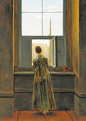 Young Man at His Window - Caspar David Friedrich, Woman at the Window, 1822, oil on canvas
