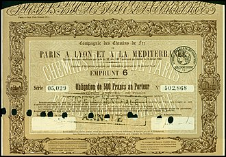 Chemins de fer de Paris à Lyon et à la Méditerranée - Bond of the Compagnie des Chemins de Fer de Paris à Lyon et à la Méditerranée, issued 1. May 1920