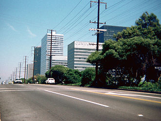 Gateway West Building - Gateway West (with Century City neon sign) as viewed from Santa Monica Boulevard, 1978