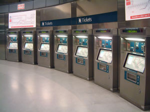 Automated fare collection - General ticketing machines at the Expo Station in Singapore, where commuters can add value to their EZ-Link card or purchase a single trip ticket.