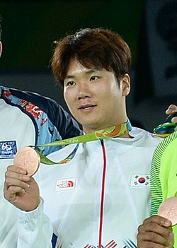 Cha Dong-min at the 2016 Summer Olympics – Men's +80 kg awarding ceremony.jpg
