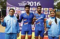 Chaoba Devi Elangbam, (INDIA) Silver, Arvind Panwar (INDIA) Gold, Manjeet Singh (INDIA) Silver and Bidyaluxmi Tourngbam (INDIA) in men and women cycling competition, at 12th South Asian Games-2016 along NH 37, at Tepesia.jpg