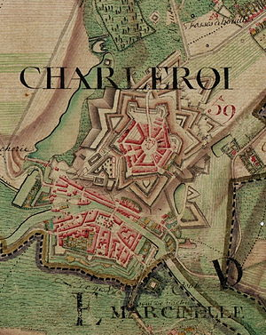 Waterloo Campaign: 8–15 June -  Map of the Charleroi fortress (c. 1775) by Joseph de Ferraris.