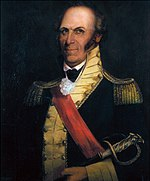 Portrait depicts a balding man with sideburns in a dark blue uniform with gold epaulettes and buff facings.