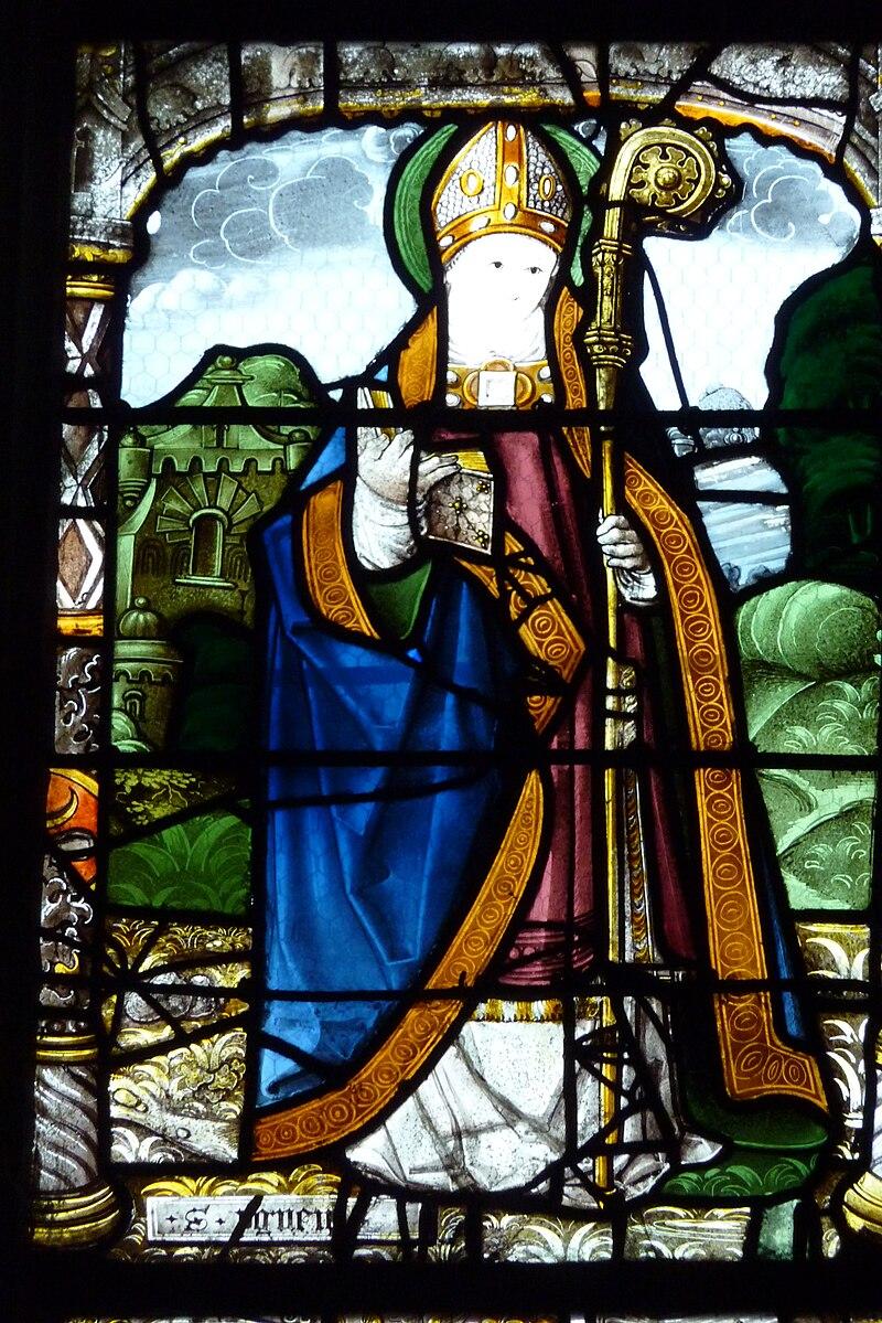 Den hellige Anianus på et glassmaleri fra tidlig 1500-tall i kirken Saint-Aignan i Chartres