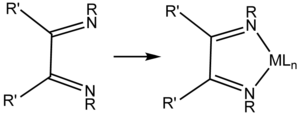 Diimine - A substituted 1,2-diimine ligand and an idealized metal complex.