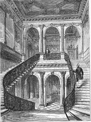 Cannons (house) - The grand staircase of Cannons, seen here after its removal to Chesterfield House, London in 1747.