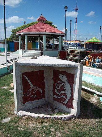 Chicxulub, Yucatán - Stele over the meteorite that hit the Earth 65 Million years ago killing the dinosaurs