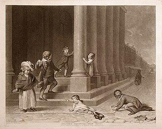 Snowball fight - European children throwing snow balls 1785