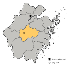 Location of Jinhua City jurisdiction in Zhejiang