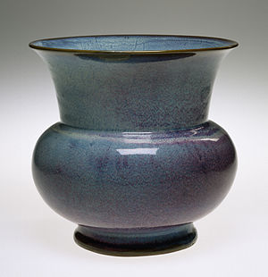 Five Great Kilns - Spittoon stoneware with Jun ware glaze, Song or Ming dynasty