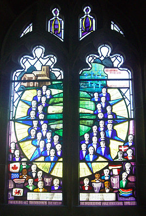 St Mary's Church, Bolsterstone - The memorial window to the members of the Bolsterstone Male Voice Choir party killed in 1947.