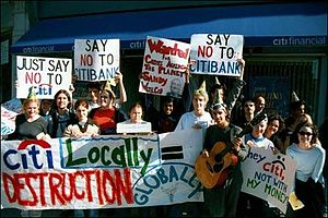Activism at Ohio Wesleyan University - Wesleyan students protesting unfair Citibank employment policies.
