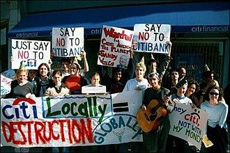 Activism at Ohio Wesleyan University - Wesleyan students protesting unfair Citibank employment policies.