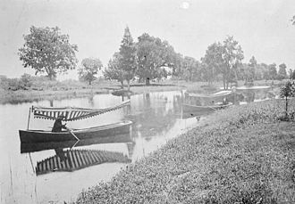 City Park (New Orleans) - Canoe recreation in City Park Lagoon about 1900