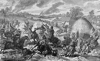 Great Eastern Crisis - Serbian soldiers attacking the Ottoman army at Mramor, 1877