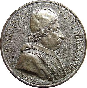 XI. Kelemen pápa egy pénzérmén