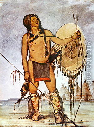 A Comanche warrior by George Catlin, 1835.