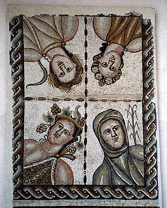 Alcalá de Henares - Roman mosaic (part of the archeological ensemble of Complutum) representing the four seasons from the House of Bacchus.