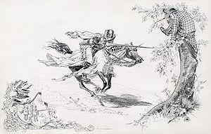 """Knight in armor tilting at man in modern..."
