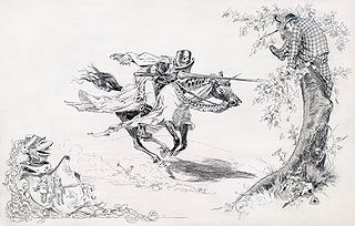 """Knight in armor tilting at man in modern dress in tree onto which a man in modern dress has climbed for refuge"""