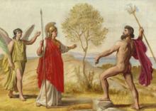 Constantin Hansen - Athene, fulgt af Sejersgudinden Nike, tvistes med Poseidon om Besiddelsen af Attika.png