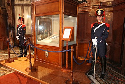 Two members of the Regiment of Mounted Grenadiers guarding the Constitution of the Argentine Nation inside the Palace of the Congress. Constitucion Nacional Interior Congreso.jpg