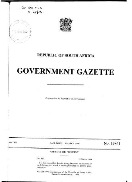 File:Constitution of the Republic of South Africa Second Amendment Act 1999 from Government Gazette.djvu