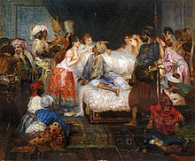 Man on a bed, surrounded by concubines and other people