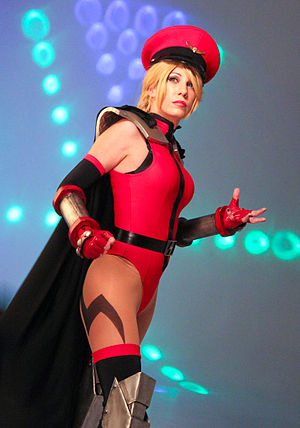 Cammy - A Cammy cosplayer in 2013 wearing one of the character's Street Fighter IV alternate outfits, which is modeled after M. Bison's primary costume