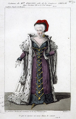 Cornélie Falcon - Costume design for Falcon as Amélie in Act 2 of Gustave III