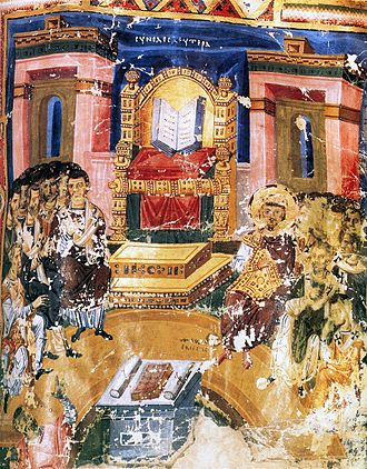 Hetoimasia - Byzantine miniature of about 880 of the First Council of Constantinople in 381