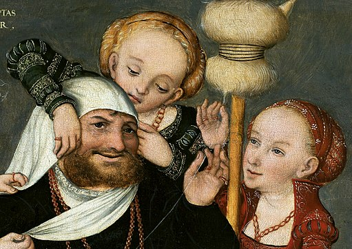 Cranach Hercules and Omphale (detail)