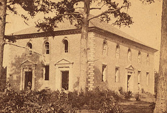 Pohick Church - This image, cropped from a stereoscopic photograph taken sometime after the Civil War, shows the state to which Pohick Church had been reduced. Note the missing windows and doors.