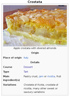 Infobox - The infobox for the Wikipedia article Crostata rendered by a web browser engine on a desktop computer