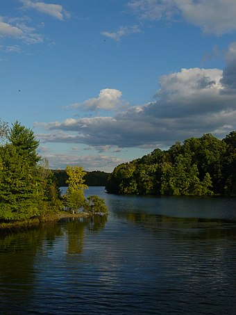 The New Croton Reservoir is the largest of many in the county. CrotonReservoir2.JPG