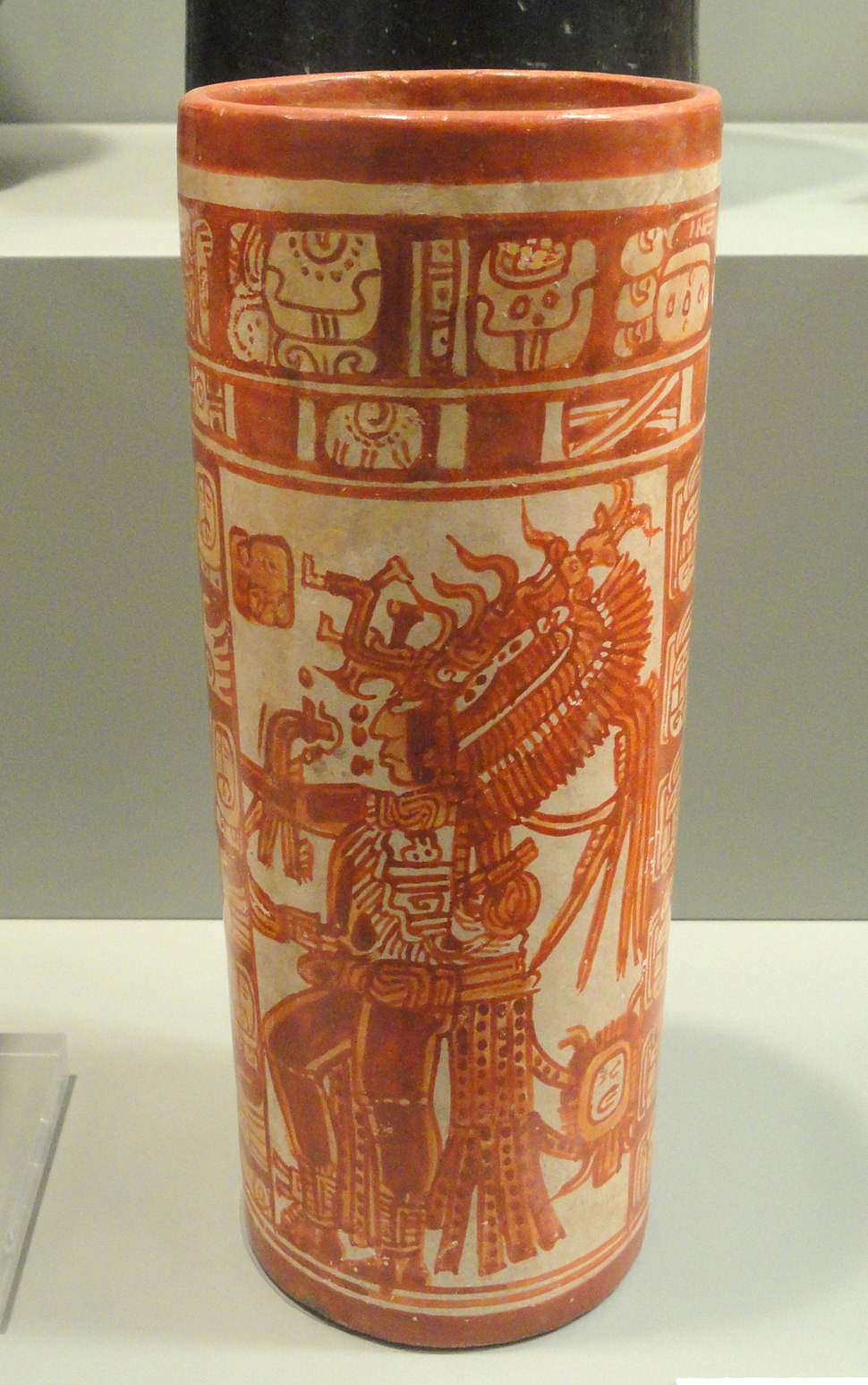 Cylinder Vase with dancing maize god, 675-725 AD, Maya culture, eastern Peten lowlands, Guatemala or Belize, earthenware with slip - Gardiner Museum, Toronto - DSC01183