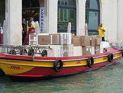 DHL Boat in Venice.