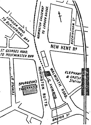 Elephant and Castle - Street layout in 1888