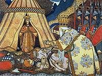 El Zar Dadon, conoce a la reina Shemakha; de la ópera El gallo de oro.