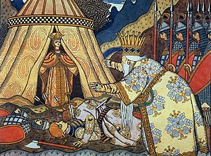 The Tale of the Golden Cockerel - Tsar Dadon meets the Shemakha queen. Illustration by Ivan Bilibin, 1907