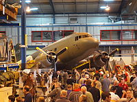 A former RAAF C-47 Dakota at the Australian War Memorial's Treloar Technology Centre