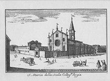 Santa Maria della Scala, Collegiata Regia, demolita per costruire il teatro, incisione di Marc'Antonio Dal Re del 1745.