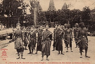 Khmer people - Khmer dancers at Angkor Wat, 1920s.