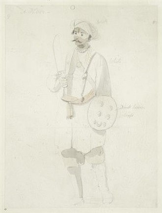 Nair - A Nair by Thomas Daniell. Drawn in pencil and watercolor sometime between the 17th and 18th century.
